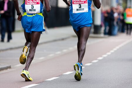 ROTTERDAM, THE NETHERLANDS - APRIL 11 : Annual Fortis Rotterdam Marathon. Runners on the city streets on April 11, 2010 in Rotterdam Stock Photo - 6896456