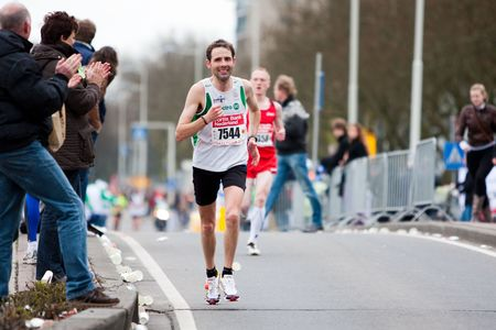 ROTTERDAM, THE NETHERLANDS - APRIL 11 : Annual Fortis Rotterdam Marathon. Runners on the city streets on April 11, 2010 in Rotterdam Editorial