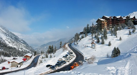 View on an alpine skiing resort. Winter vacation. French Alps photo