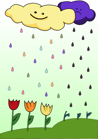 it is raining from the clouds of mood on flowers