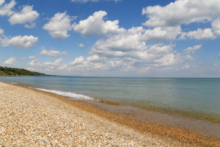 forth: Lake Michigan stone beach at Forth Sheridan Stock Photo