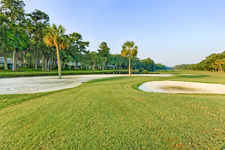 head in the sand: Golf Course in Hilton Head Island, South Carolina Stock Photo