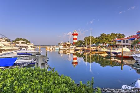 Harbor with lighthouse on Hilton Head Island Editorial