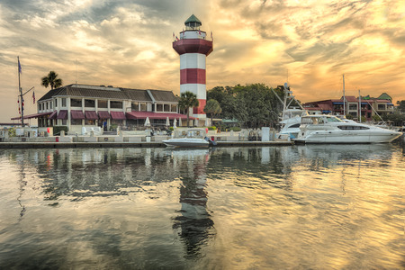 Harbor with lighthouse on Hilton Head Island Stock Photo