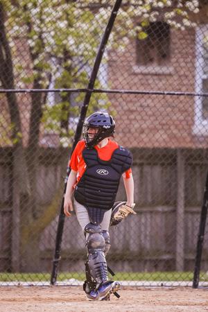 2016 년 5 월 6 일 모튼 그 로브 공원 Districk에서 Norewood 공원 모튼 그 로브 박 사이의 청소년 야구 경기