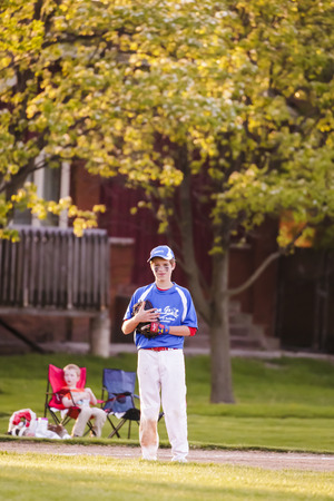 ballplayer: Youth baseball match between Norewood Park and Morton Grove Pak in Morton Grove Park Districk on May 6, 2016