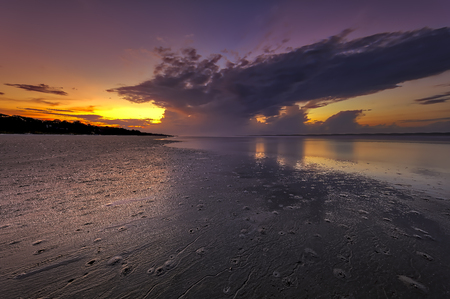 Seascape, sunrise, sunset in Mitchellville Park Beach in Hilton Head Island, South Carolina