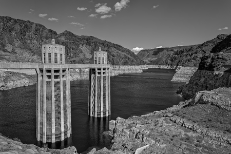 View of Hoover Dam on Colorado River in Arizona, Colorado and Nevada