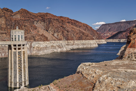 hoover dam: View of Hoover Dam on Colorado River in Arizona, Colorado and Nevada