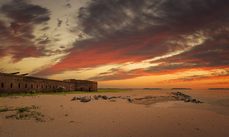 Fort Clinch at Fernandina Beach, Amelia Island during sunset.