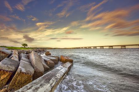 Two bridges conecting Amelia Island and Big Talbot Island, Florida. Nassau County.
