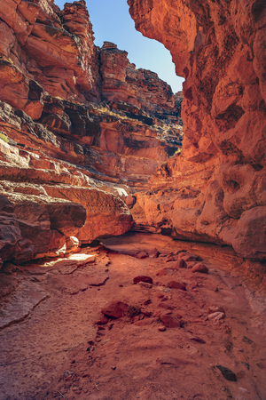 Cathedral Wash Trail in Marble Canyon, Arizona. Beautiful view through the trail which leads to Colorado River. Imagens