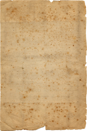 A torn sheet of antique paper, with fox marks and stains.