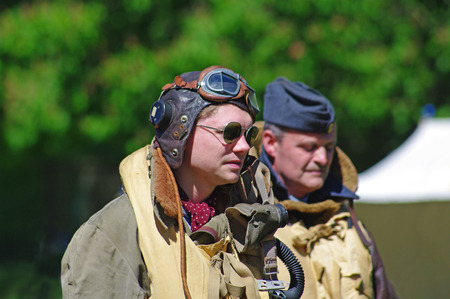 Lincoln, England - May 07, 2018: Reenactors dressed as WW 2 airmen, at an event celebrating 100 years of military flying