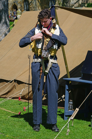 Lincoln, England - May 07, 2018: A reeenactor dressed as a WW II RAF airman at an event celebrating 100 years of military flying Editöryel