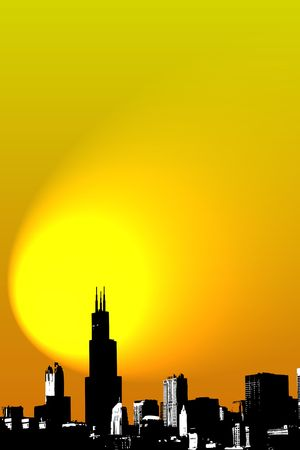 Skyline of Chicago on sunrise - Illustration illustration