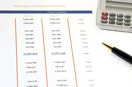Statement of Financial Position with ball pen and calculator photo