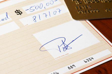 bank check with creditcard photo