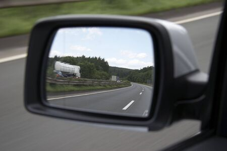 a mirage: mirage of a motorway with tank truck