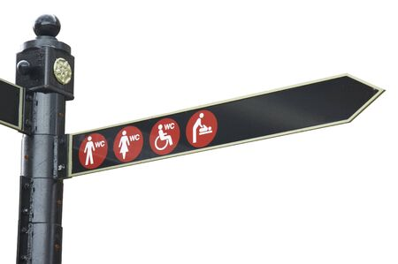 isolated sign restrooms for man, women, babies changing room and toilet for the disabled photo