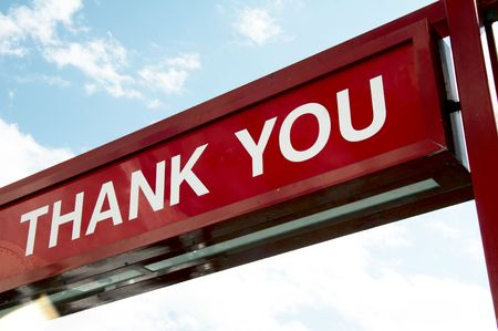sign - THANK YOU - dark red background and white letter, blue sky photo