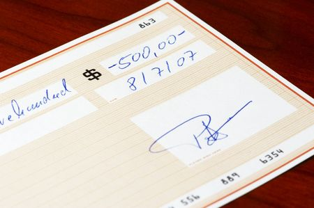 bank check     *** note: check, numbers and signature are fictitious!   photo