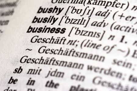 Macro shot of the word Business in a dictionary Stock Photo
