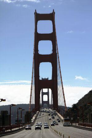 Traffic on the Golden Gate Bridge, San Francisco, backlight, view from sausalito, California Stock Photo - 745149