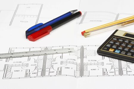 cad blueprint with calculator, pencil and ruler Stock Photo - 766185