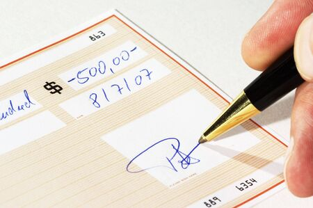 bank check  *** note: check, numbers and signature are fictitious! Stock Photo - 766174