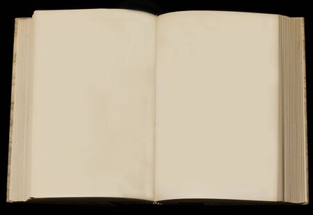 yellowed: open book with two yellowed empty pages on black background