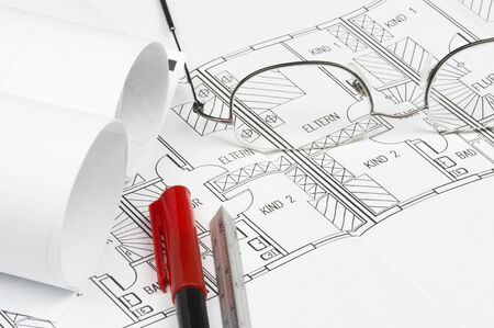 cad blueprint with glasses, pencil and ruler Stock Photo