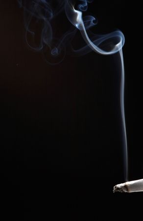 smoke like a chimney - black background photo