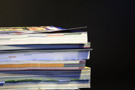 mail order: colorful stack of mail order catalogues Stock Photo