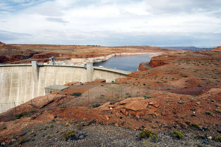 Glen Canyon Dam with Lake Powell, built as gravity-arch dam in nevada, usa photo