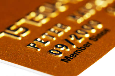 Membership Credit Card in gold isolated on white background Stock Photo - 792845
