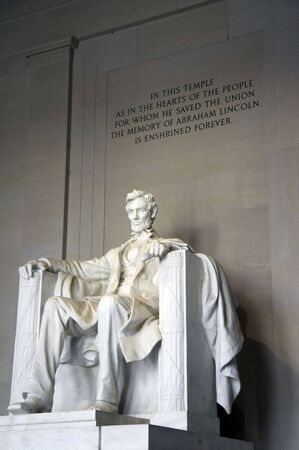 abraham: Sculpture of Abraham Lincoln sitting and looking, inside Lincoln Memorial, Washington DC, USA