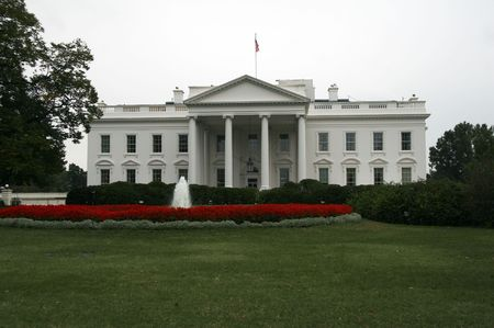 frontage: The White House in Washington DC on a rainy day in autumn