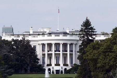 View from the rear of the White House in Washington DC, the home of the president of the united states of america, usa