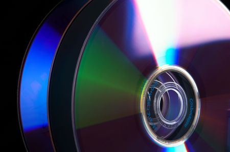 cd rom: Abstract Stack of DVD - isolated on black background