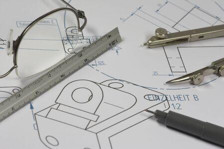 mechanical engineer constructing element photo