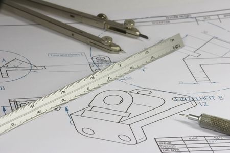 constructing: mechanical engineer constructing element Stock Photo