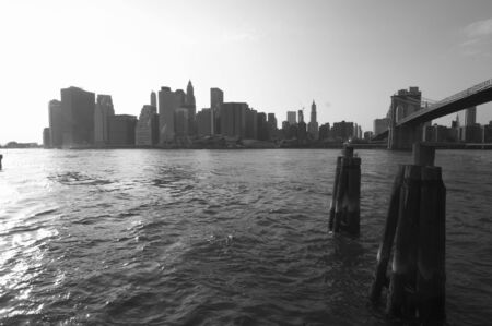 skyline of manhattan, new york with Brooklyn Bridge Stock Photo - 809983