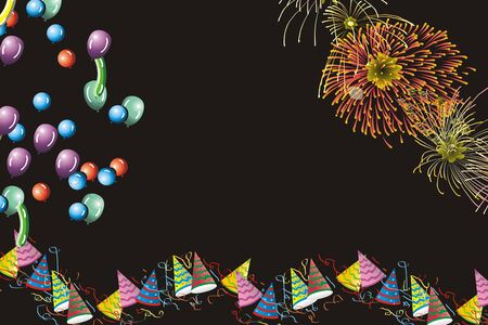 Background with firework display, balloons and party huts Stock Photo - 829522