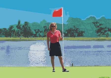 illustrated women on putting green with red flag in her hand - landscape format photo