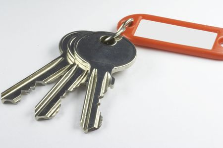 keys with a red key fob on white background Stock Photo - 832615
