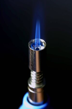 small gas burner with flame