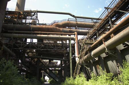 details from an old blast furnace that is out of commission since many years, germany