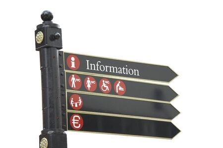 isolated sign restrooms and information photo