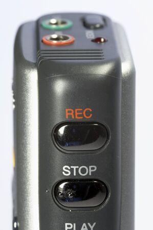 dictating: dict�fono digital en detalle - plata y negro Foto de archivo
